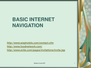 BASIC INTERNET NAVIGATION