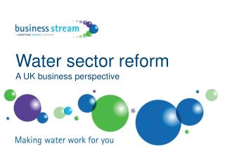 Water sector reform A UK business perspective