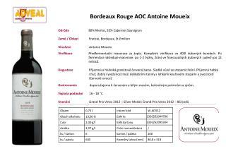 Bordeaux Rouge AOC Antoine Moueix Odrůda             80% Merlot, 20% Cabernet Sauvignon