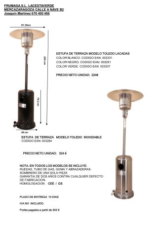 ESTUFA DE TERRAZA MODELO TOLEDO LACADAS COLOR BLANCO. CODIGO EAN: 002331