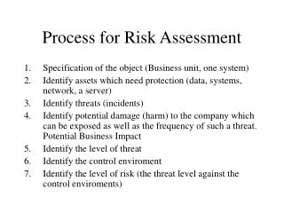 Process for Risk Assessment