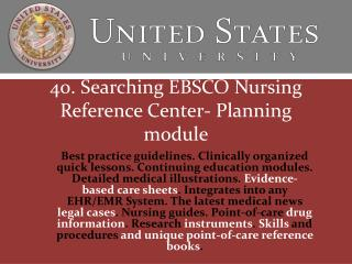 40. Searching EBSCO Nursing Reference Center- Planning module