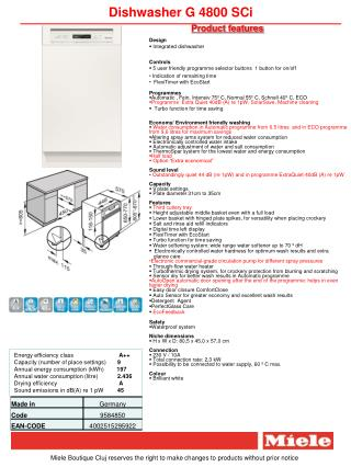 Dishwasher G 4800 SCi