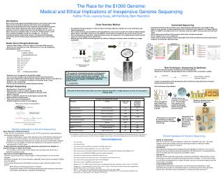 The Race for the 1000 Genome: Medical and Ethical Implications of Inexpensive Genome Sequencing Kathryn Fluss, Juyoung G