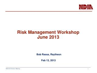Risk Management Workshop June 2013