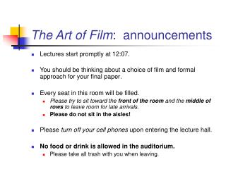 The Art of Film :  announcements