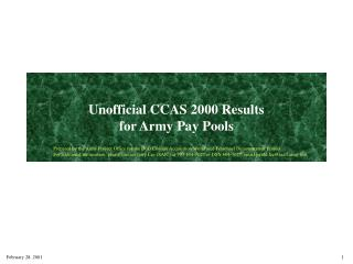 Unofficial CCAS 2000 Results for Army Pay Pools