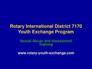 Rotary International District 7170 Youth Exchange Program