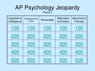 AP Psychology Jeopardy Round 2