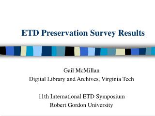 ETD Preservation Survey Results