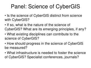 Panel: Science of CyberGIS
