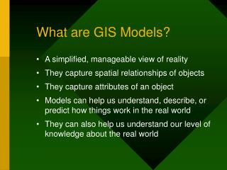 What are GIS Models?