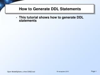 How to Generate DDL Statements