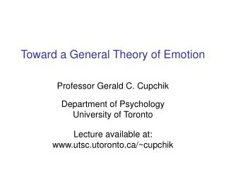 Toward a General Theory of Emotion
