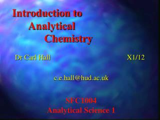Introduction to  Analytical   Chemistry