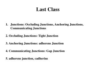 Last Class Junctions: Occluding Junctions, Anchoring Junctions, Communicating Junctions