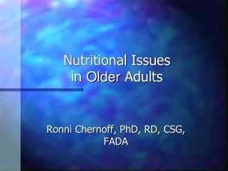 Nutritional Issues  in Older Adults