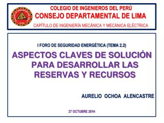 I FORO DE SEGURIDAD ENERGÉTICA (TEMA 2.2)