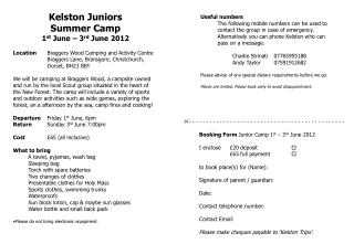 Kelston Juniors Summer Camp  1 st  June – 3 rd  June 2012