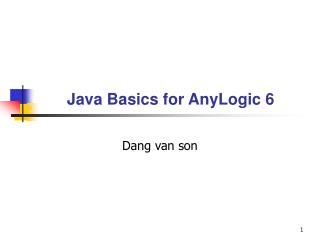Java Basics for AnyLogic 6