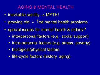 AGING & MENTAL HEALTH
