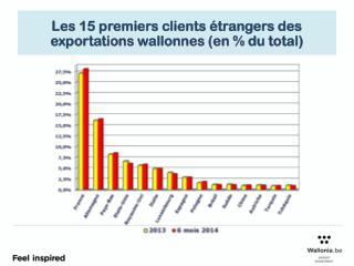 Les 15 premiers clients étrangers des exportations wallonnes (en  % du total)