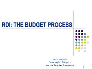 RDI: THE BUDGET PROCESS