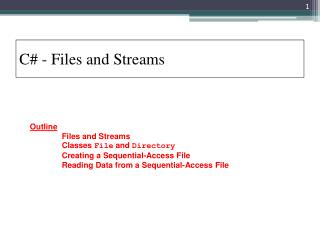 C - Files and Streams
