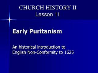 Early Puritanism