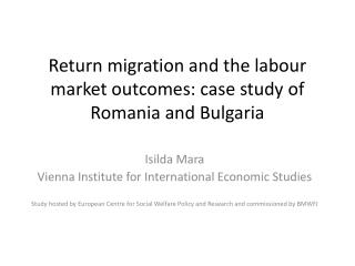 Return migration and the labour market outcomes: case study of Romania and Bulgaria