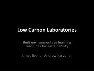 Low Carbon Laboratories