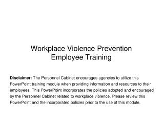Workplace Violence Prevention  Employee Training