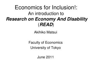 Economics for Inclusion!: An introduction to Research on Economy And Disability  ( READ )