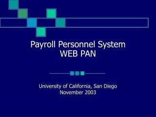 Payroll Personnel System WEB PAN