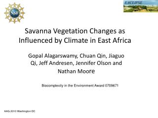 Savanna Vegetation Changes as Influenced by Climate in East Africa