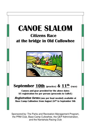 CANOE SLALOM                Citizens Race                   at the bridge in Old Cullowhee