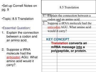 Set up Cornell Notes on pg. 9 Topic: 8.5 Translation Essential Question :