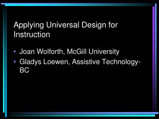 Applying Universal Design for Instruction