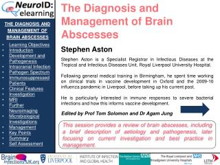 the diagnosis and management of brain abscesses Learning Objectives Introduction