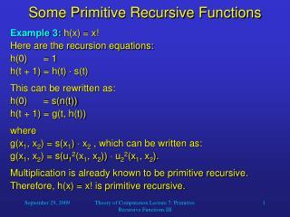 Some Primitive Recursive Functions