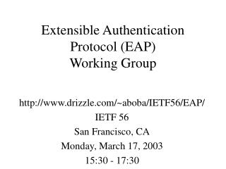 Extensible Authentication Protocol (EAP) Working Group
