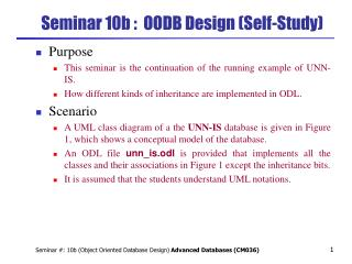 Seminar 10b :  OODB Design (Self-Study)