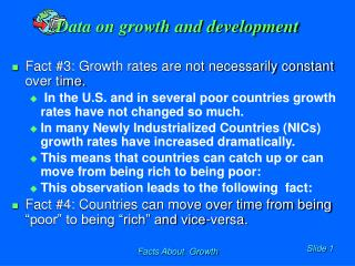 Data on growth and development