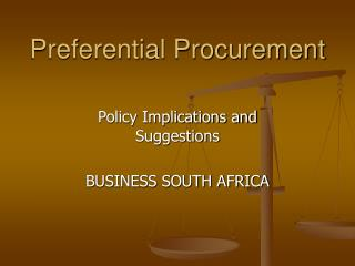 Preferential Procurement