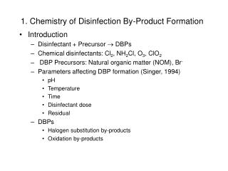 1. Chemistry of Disinfection By-Product Formation