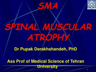 Dr Pupak Derakhshandeh, PhD Ass Prof of Medical Science of Tehran University