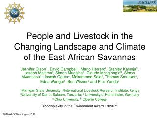 People and Livestock in the Changing Landscape and Climate of the East African Savannas
