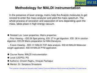 Methodology for MALDI instrumentation