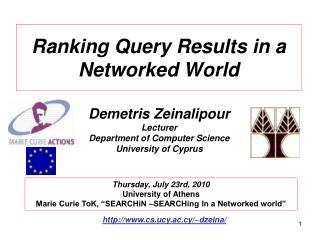 Ranking Query Results in a Networked World