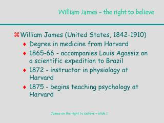 William James - the right to believe